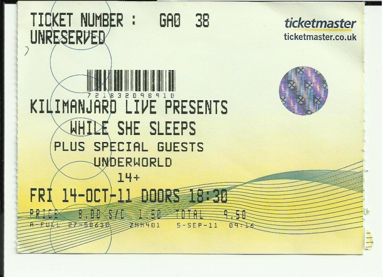 While She Sleeps ticket